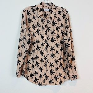 Equipment Palm Tree Silk Button Front Pocket Top